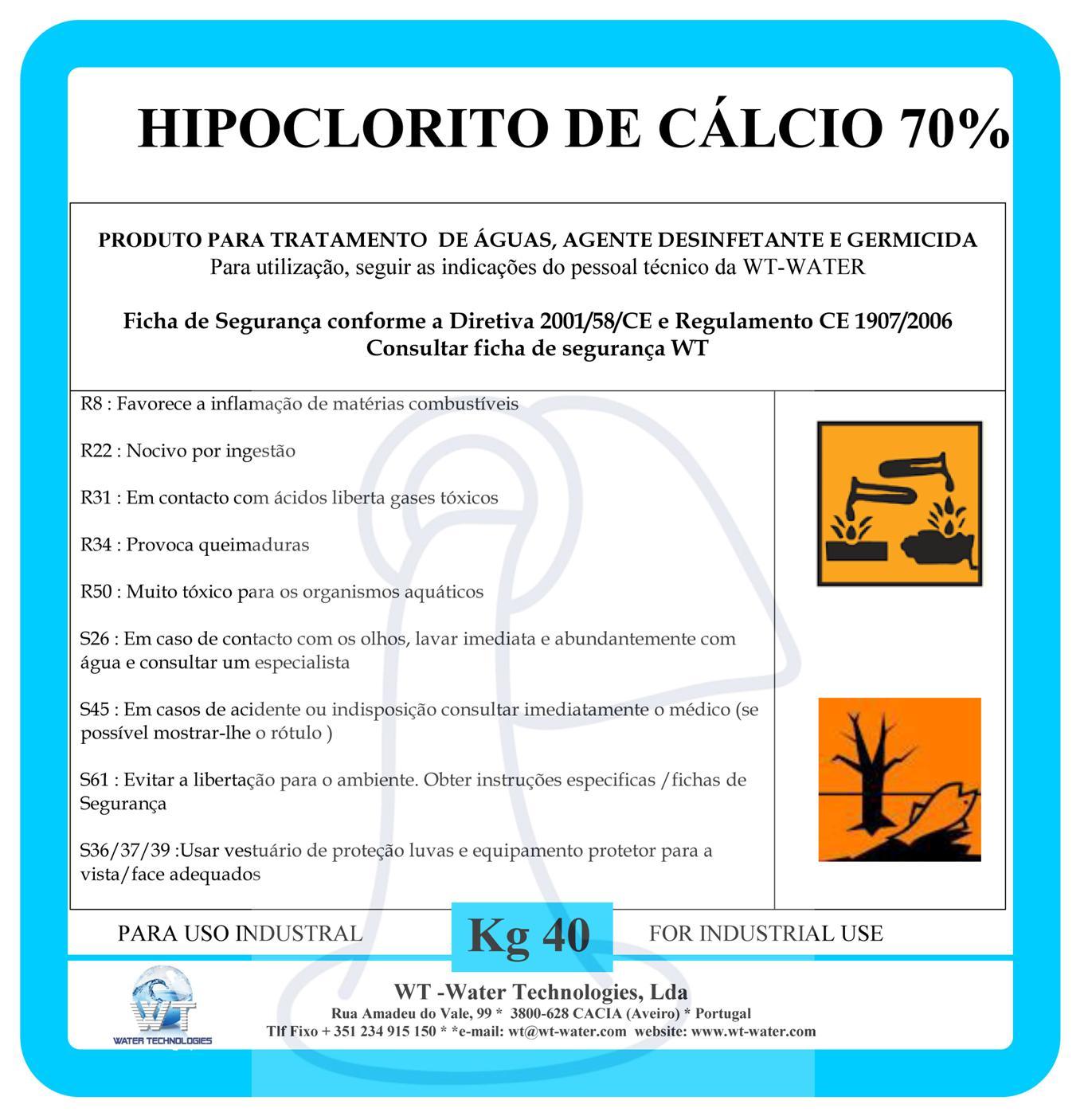 Produtos ambiente qu micos wt water for Hipoclorito de sodio para piscinas